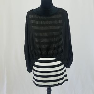 Umgee women L black sheer cropped top dress